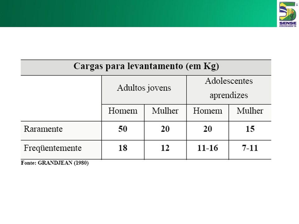 Carga Física Levantamento Manual de Cargas –NR 17 – Ergonomia 17.2.2. Não deverá ser exigido nem admitido o transporte manual de cargas, por um trabal