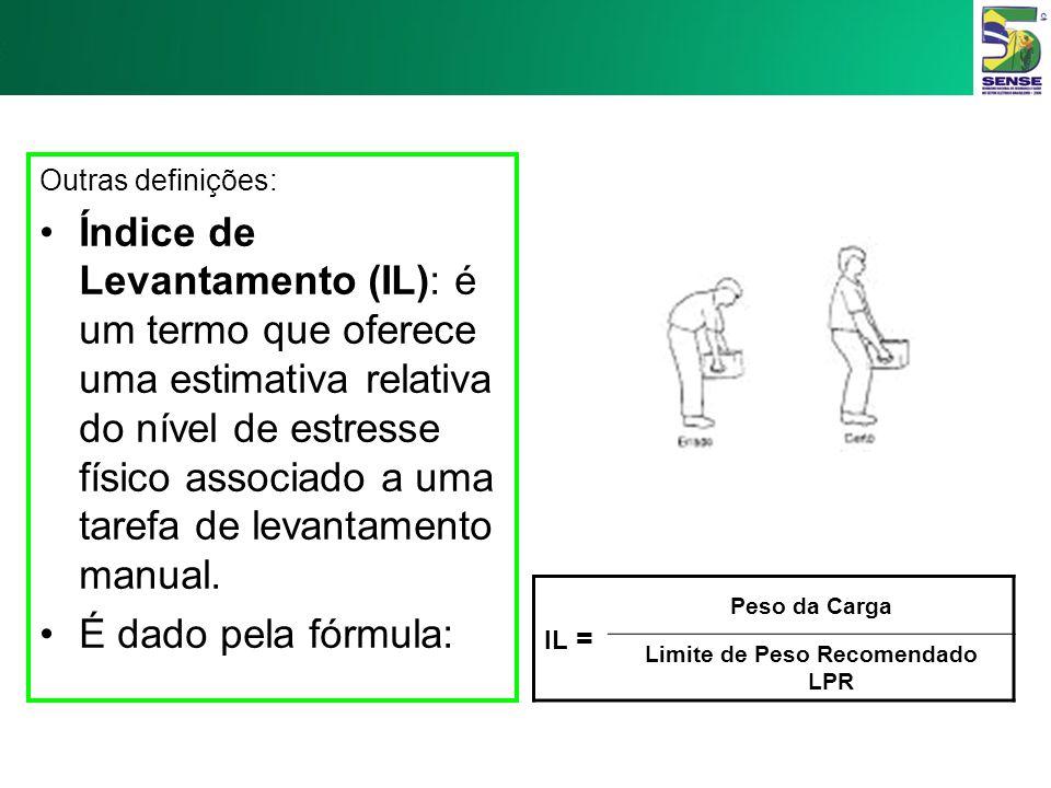 Outras definições: Limite de Peso Recomendado (LPR): definido como o peso da carga que quase todos os trabalhadores sadios poderão carregar por um per
