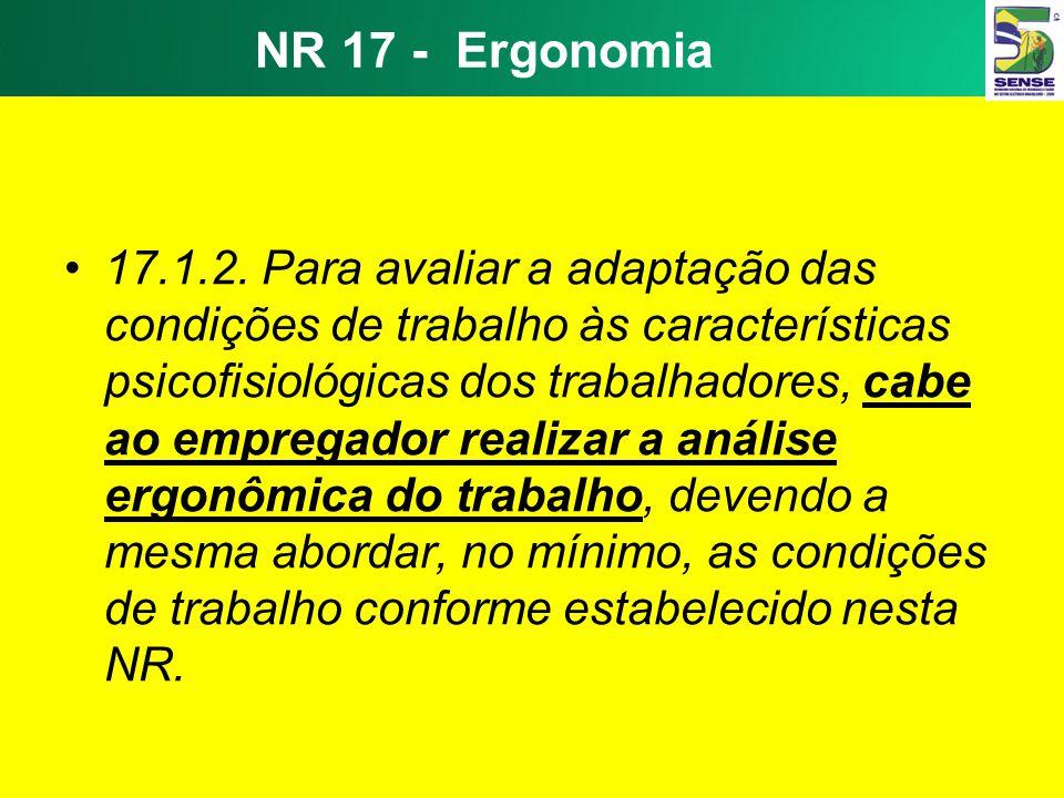 Carga Física Levantamento Manual de Cargas –NR 17 – Ergonomia 17.2.2.