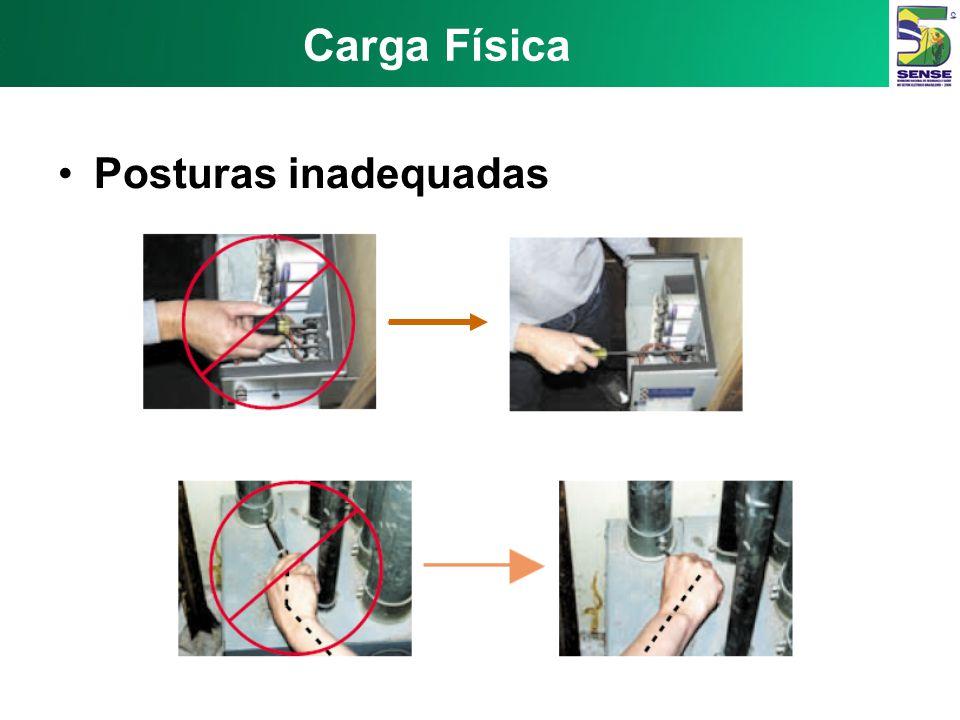 Carga Física Posturas inadequadas Trabalho com : pescoço em flexão pescoço em extensão mãos acima da cabeça; braços no nível dos ombros (sem apoio) as