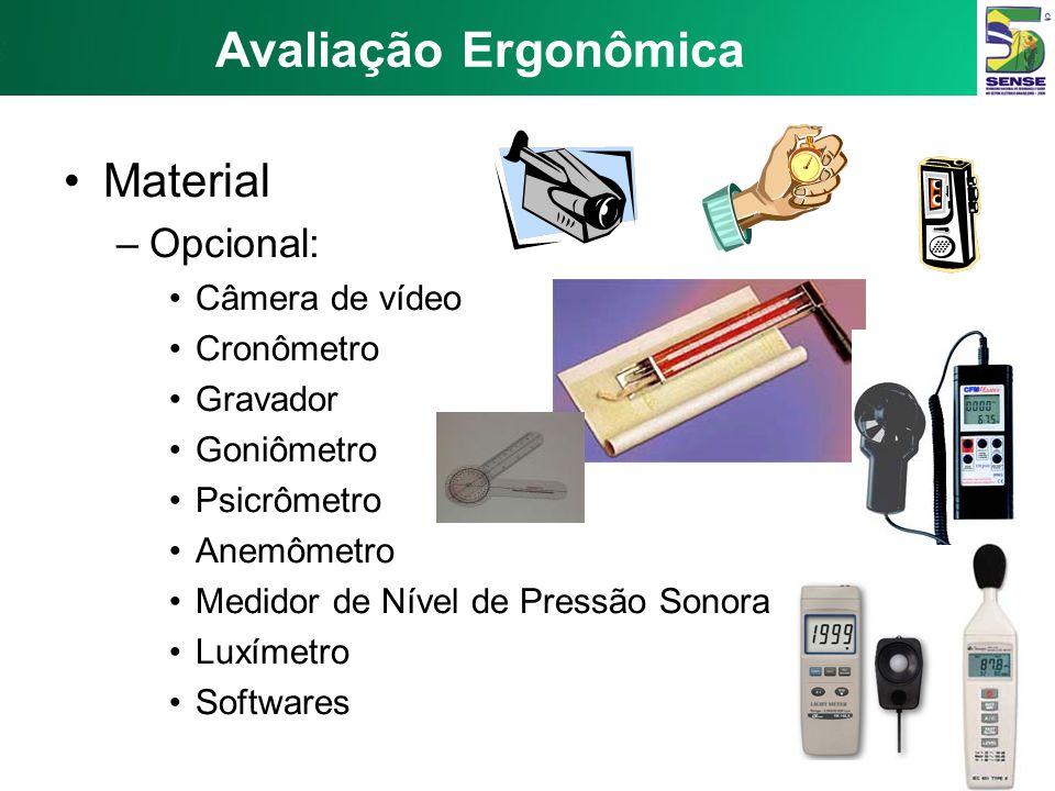 Avaliação Ergonômica Material –Opcional: Câmera de vídeo Cronômetro Gravador Goniômetro Psicrômetro Anemômetro Medidor de Nível de Pressão Sonora Luxímetro Softwares
