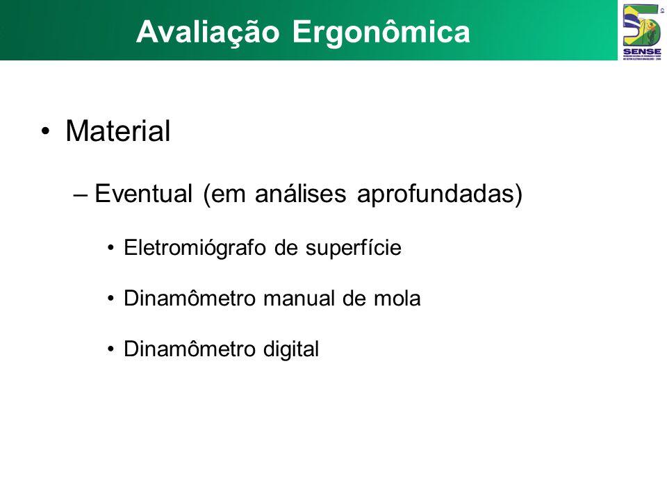 Avaliação Ergonômica Material –Opcional: Câmera de vídeo Cronômetro Gravador Goniômetro Psicrômetro Anemômetro Medidor de Nível de Pressão Sonora Luxí