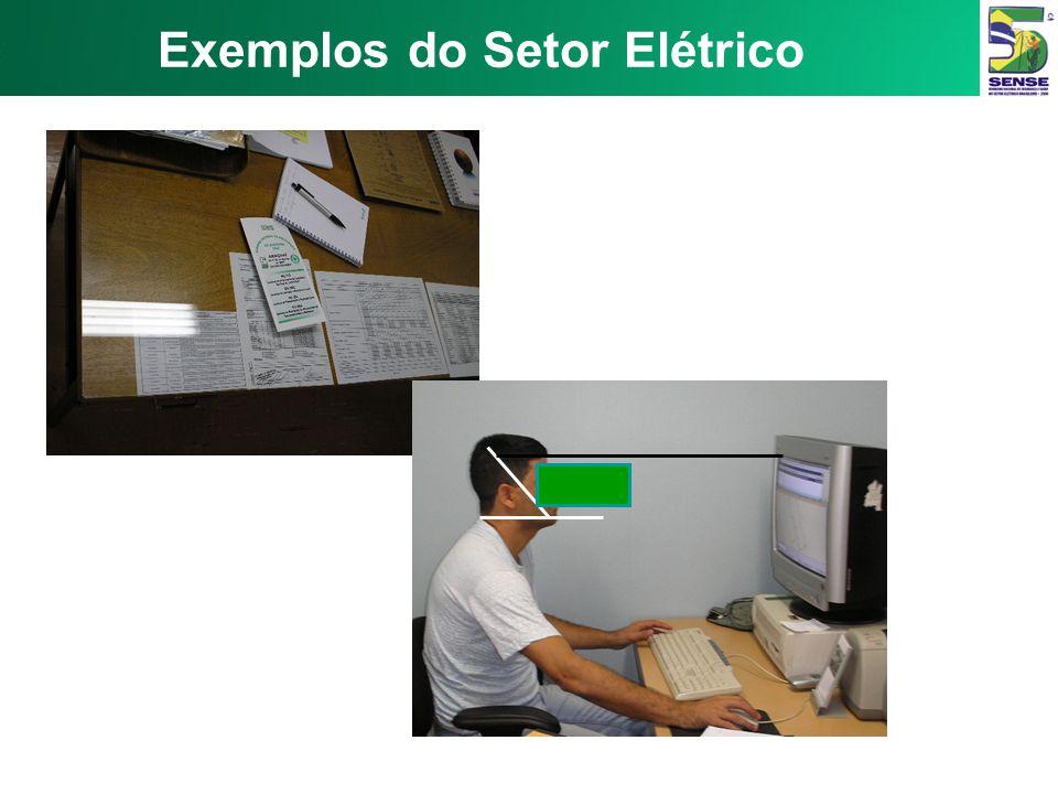 1- Dorso apoiado 2- Pés apoiados e ângulo dos joelhos > 90° 3- Mesa firme, ajustada 4- Monitor e teclados em frente ao operador 5- Suporte de teclado
