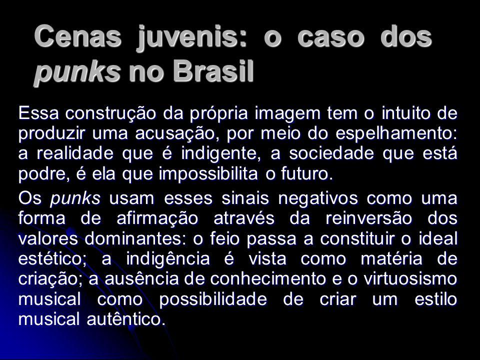 Cenas juvenis: o caso dos punks no Brasil Essa construção da própria imagem tem o intuito de produzir uma acusação, por meio do espelhamento: a realidade que é indigente, a sociedade que está podre, é ela que impossibilita o futuro.