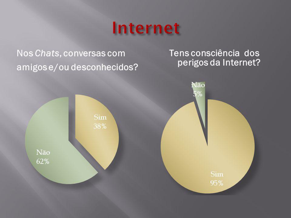 Tens consciência dos perigos da Internet Nos Chats, conversas com amigos e/ou desconhecidos
