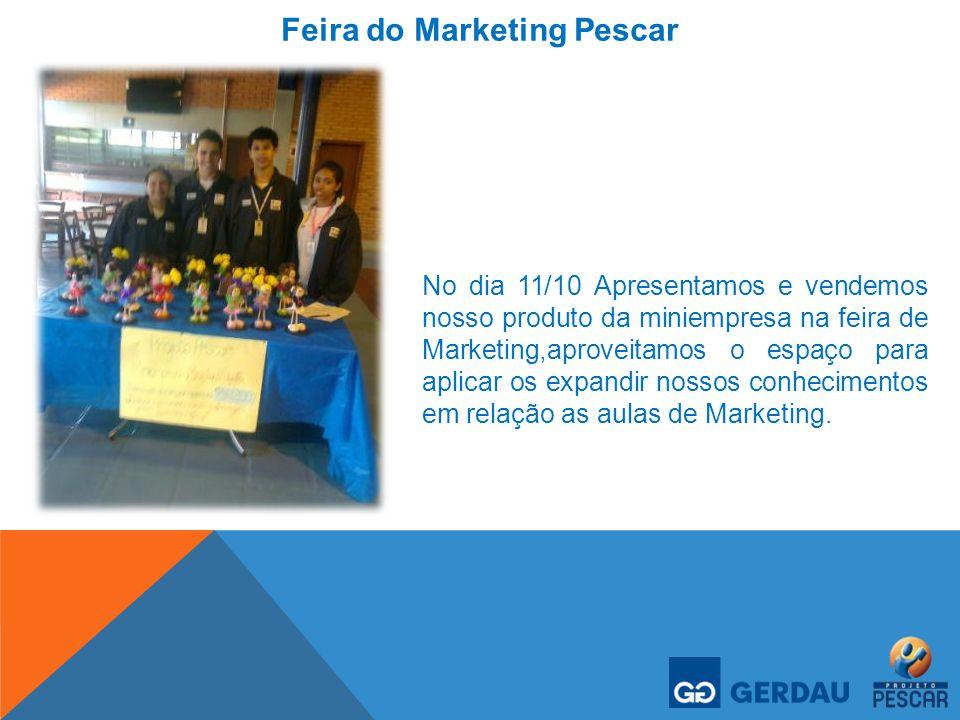 Feira do Marketing Pescar No dia 11/10 Apresentamos e vendemos nosso produto da miniempresa na feira de Marketing,aproveitamos o espaço para aplicar o
