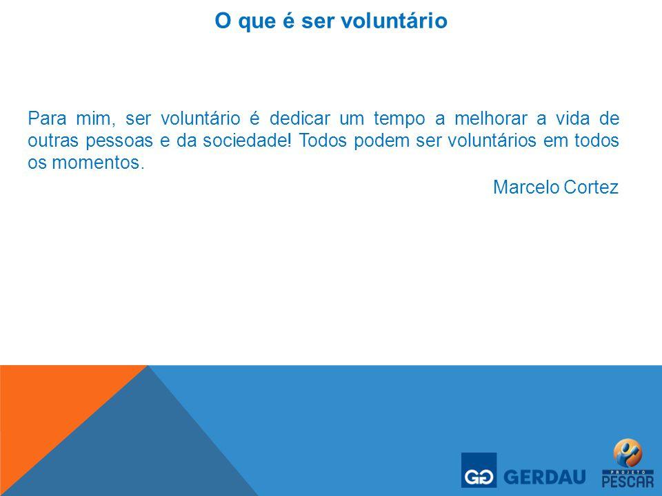 O que é ser voluntário Para mim, ser voluntário é dedicar um tempo a melhorar a vida de outras pessoas e da sociedade! Todos podem ser voluntários em