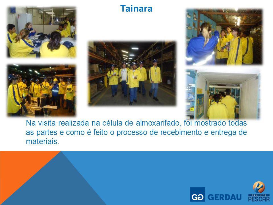 Tainara Na visita realizada na célula de almoxarifado, foi mostrado todas as partes e como é feito o processo de recebimento e entrega de materiais.