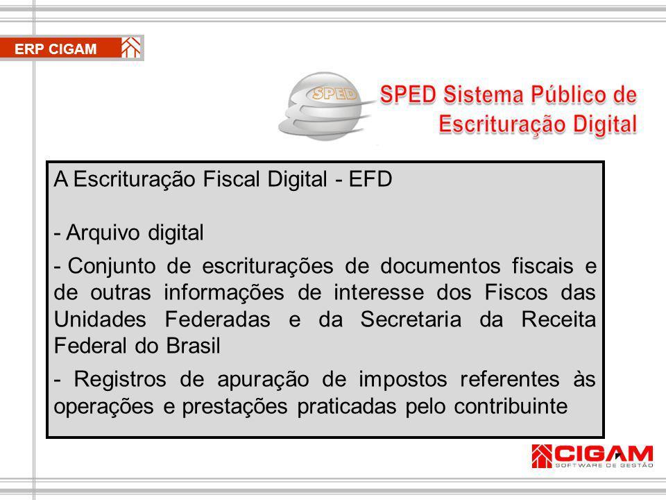 ERP CIGAM A Escrituração Fiscal Digital - EFD - Arquivo digital - Conjunto de escriturações de documentos fiscais e de outras informações de interesse dos Fiscos das Unidades Federadas e da Secretaria da Receita Federal do Brasil - Registros de apuração de impostos referentes às operações e prestações praticadas pelo contribuinte