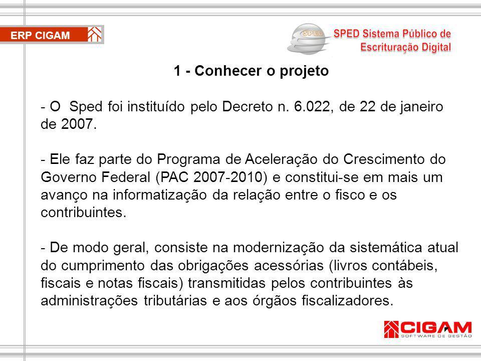 ERP CIGAM 1 - Conhecer o projeto - O Sped foi instituído pelo Decreto n.