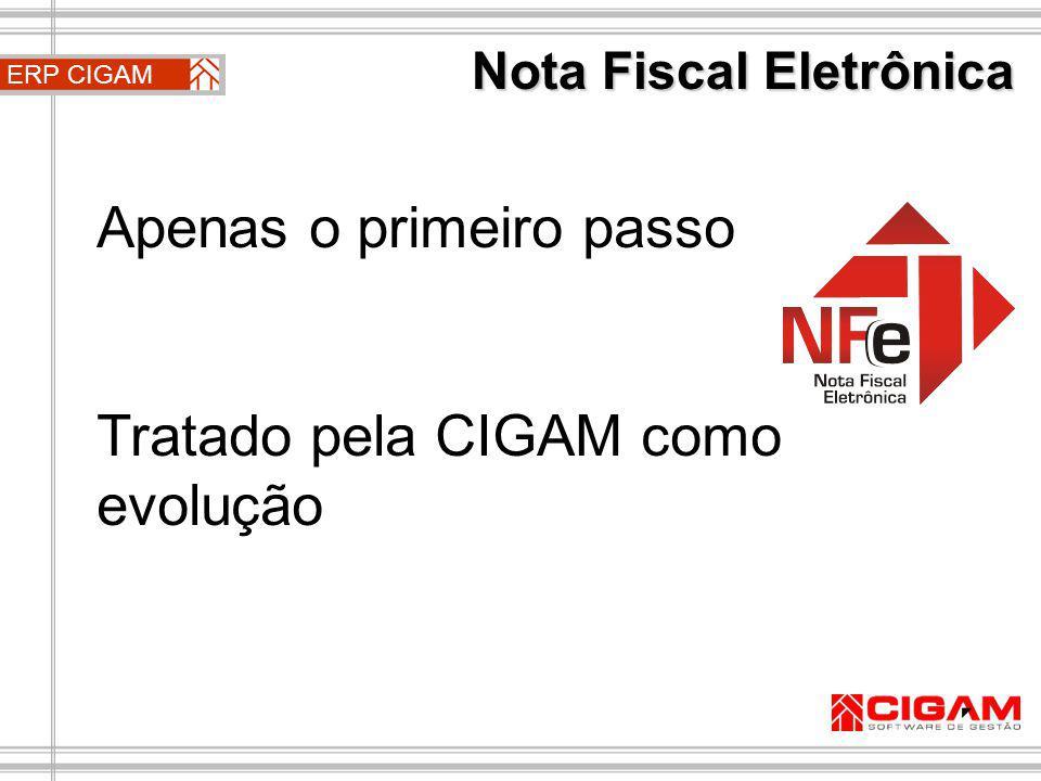 ERP CIGAM A única mudança referente à NFe na rotina do usuário que lança as notas serão os botões Enviar NFe e Retornar NFe, localizados no mini-botão múltiplo, ao lado do botão imprimir da nota fiscal.