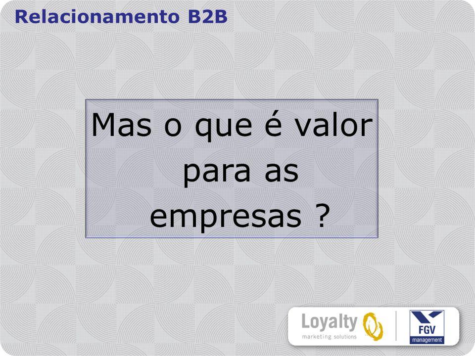 Relacionamento B2B Mas o que é valor para as empresas ?