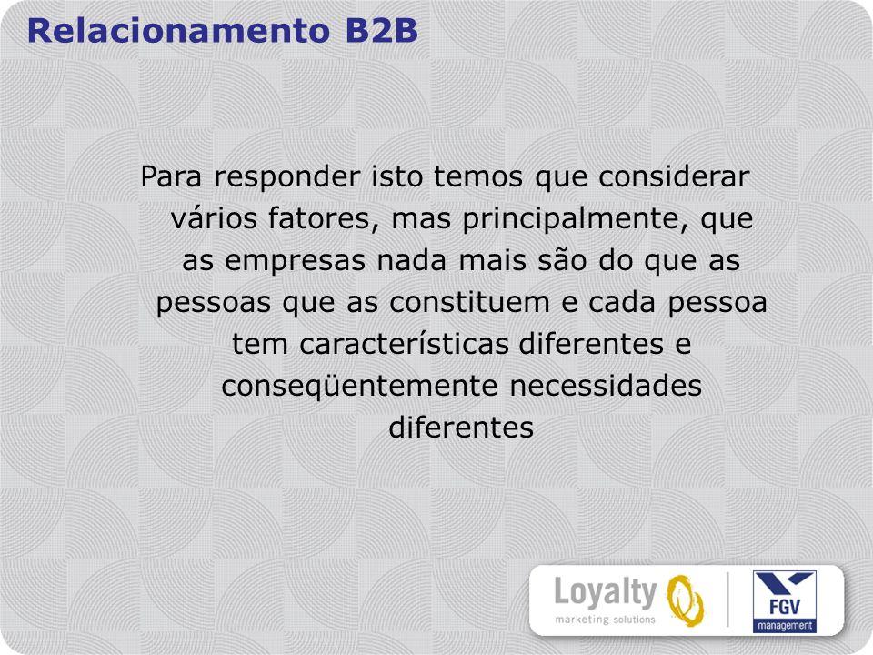 Relacionamento B2B Para responder isto temos que considerar vários fatores, mas principalmente, que as empresas nada mais são do que as pessoas que as constituem e cada pessoa tem características diferentes e conseqüentemente necessidades diferentes