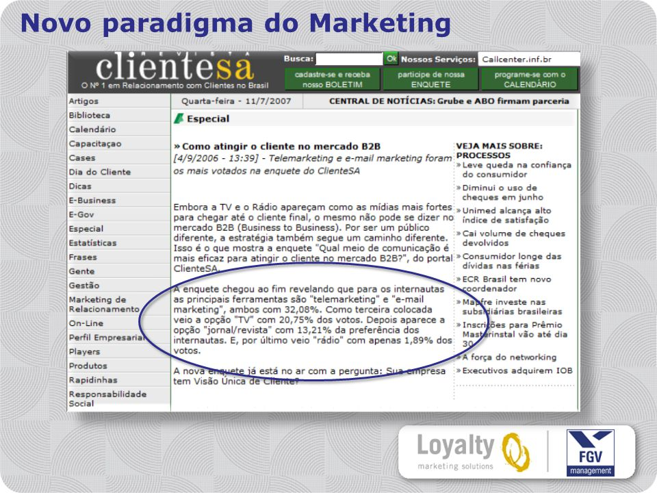 Novo paradigma do Marketing