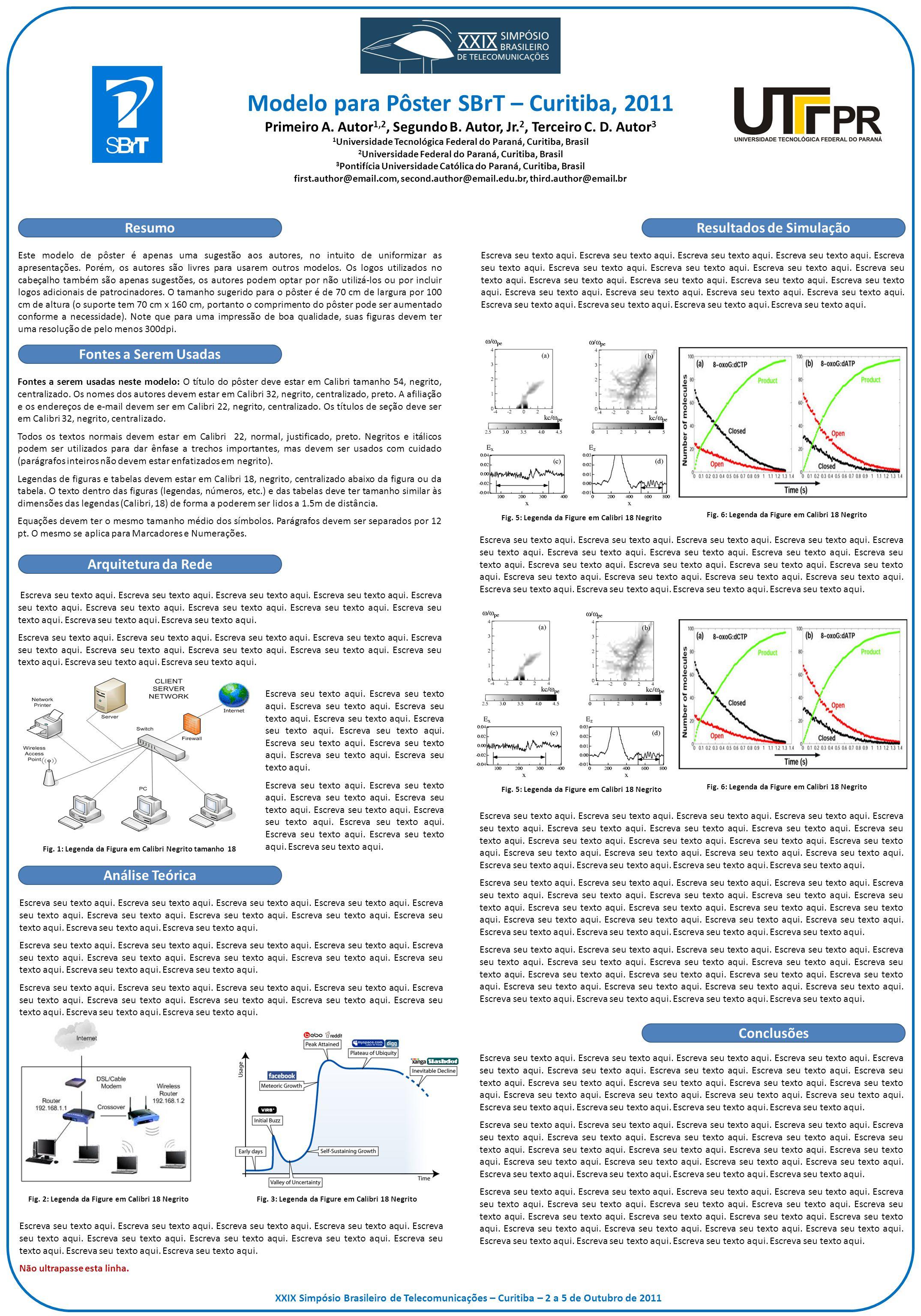 Modelo para Pôster SBrT – Curitiba, 2011 Primeiro A. Autor 1,2, Segundo B. Autor, Jr. 2, Terceiro C. D. Autor 3 1 Universidade Tecnológica Federal do