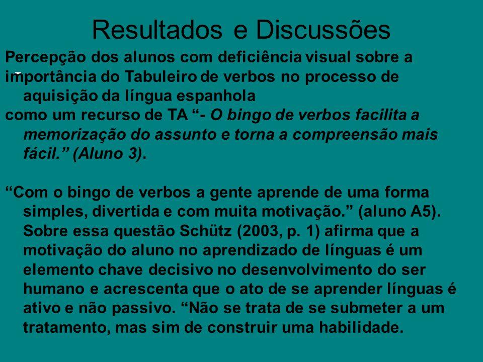 Resultados e Discussões - Percepção dos alunos com deficiência visual sobre a importância do Tabuleiro de verbos no processo de aquisição da língua es