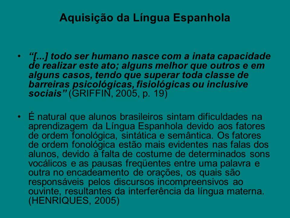 Aquisição da Língua Espanhola [...] todo ser humano nasce com a inata capacidade de realizar este ato; alguns melhor que outros e em alguns casos, ten