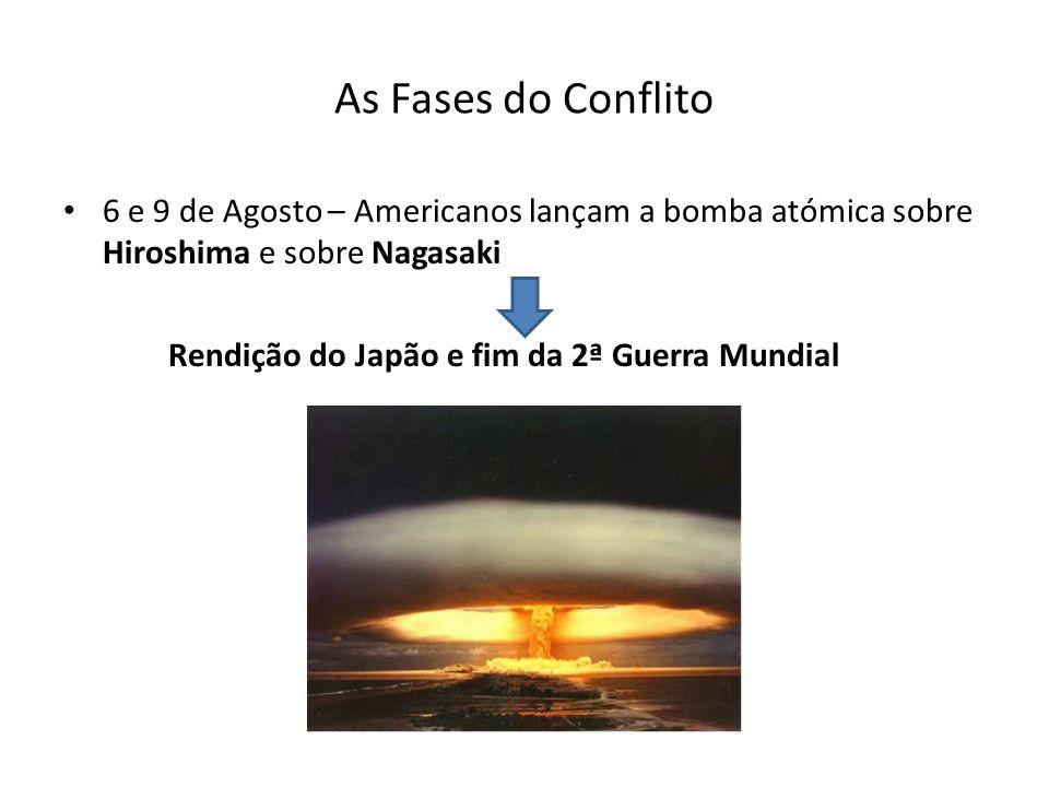 As Fases do Conflito 6 e 9 de Agosto – Americanos lançam a bomba atómica sobre Hiroshima e sobre Nagasaki Rendição do Japão e fim da 2ª Guerra Mundial