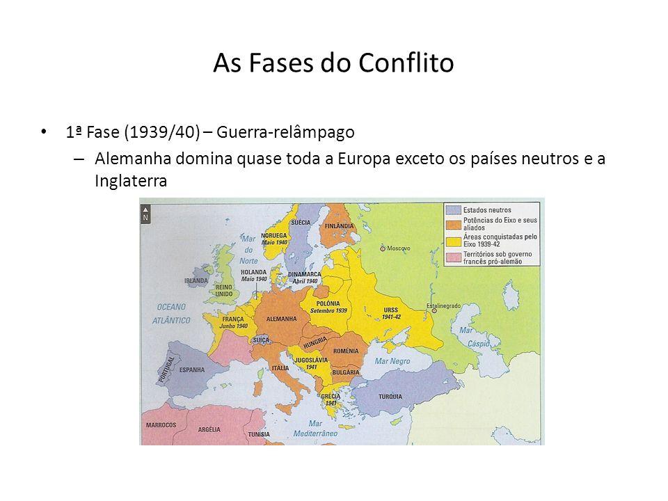 As Fases do Conflito 1ª Fase (1939/40) – Guerra-relâmpago – Alemanha domina quase toda a Europa exceto os países neutros e a Inglaterra