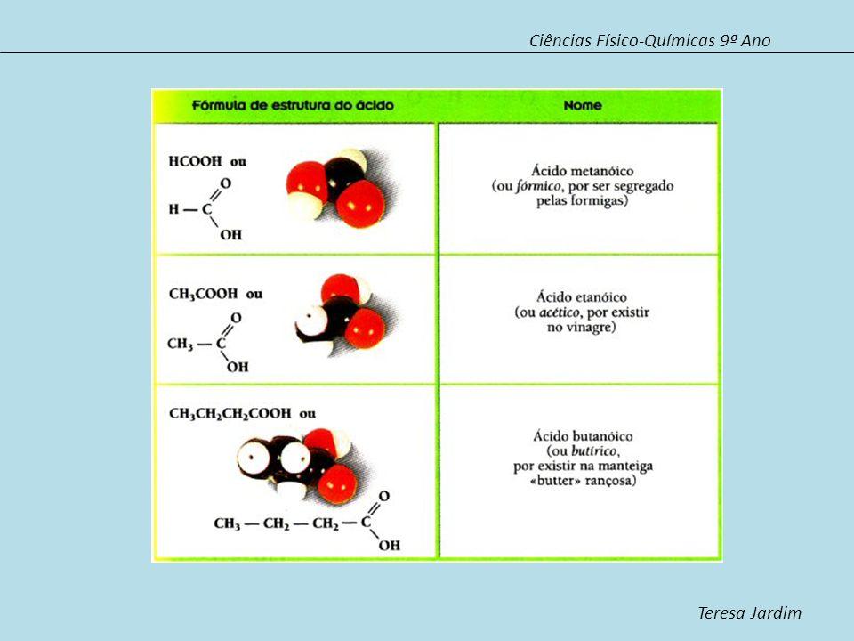 Ciências Físico-Químicas 9º Ano Teresa Jardim Ésteres Os ésteres são compostos resultantes da reacção entre um álcool e um ácido carboxílico designada por esterificação.