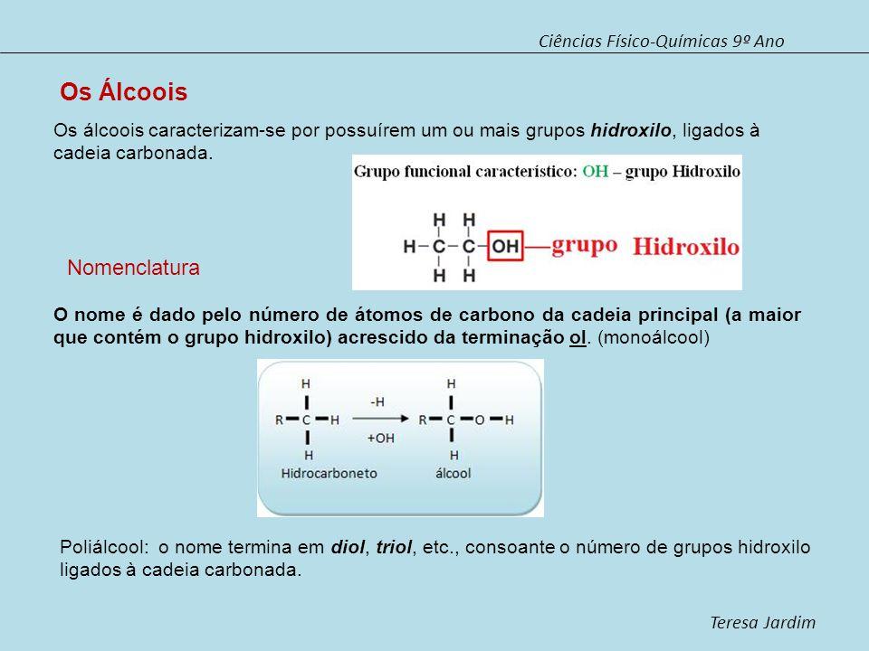 Ciências Físico-Químicas 9º Ano Teresa Jardim A numeração da cadeia carbonada é feita de modo a que o(s) átomo(s) de carbono onde está(ão) implatado(s) o(s) grupo(s) hidroxilo tenha(m) a menor numeração possível.