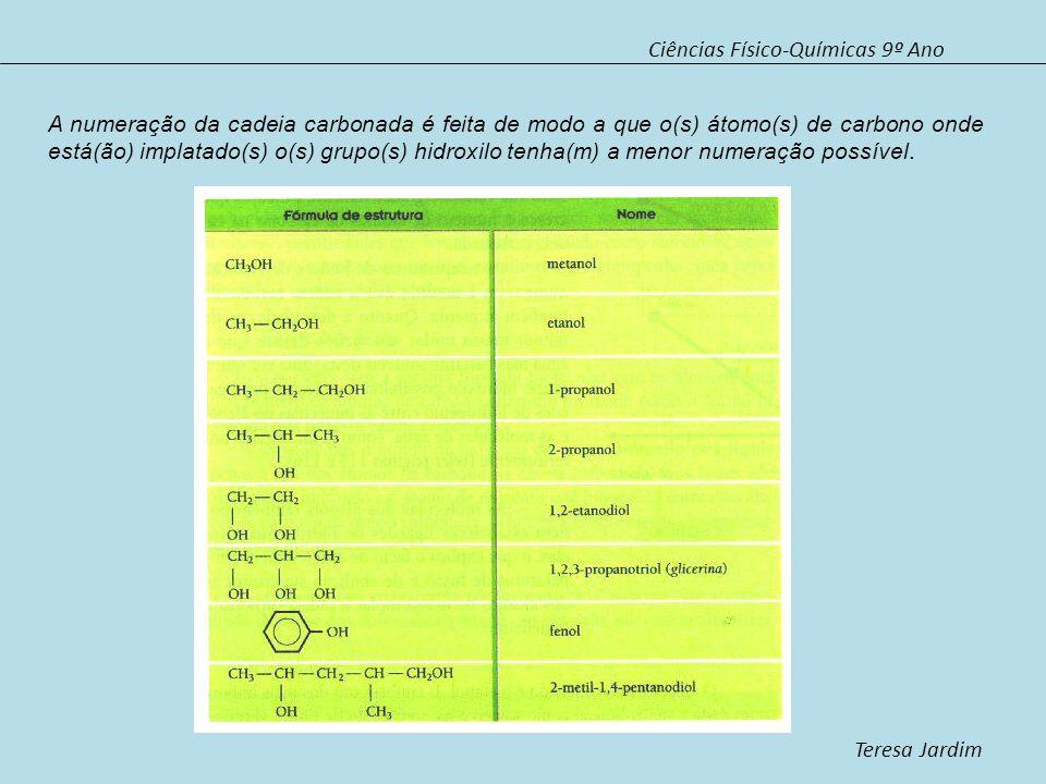 Ciências Físico-Químicas 9º Ano Teresa Jardim A numeração da cadeia carbonada é feita de modo a que o(s) átomo(s) de carbono onde está(ão) implatado(s