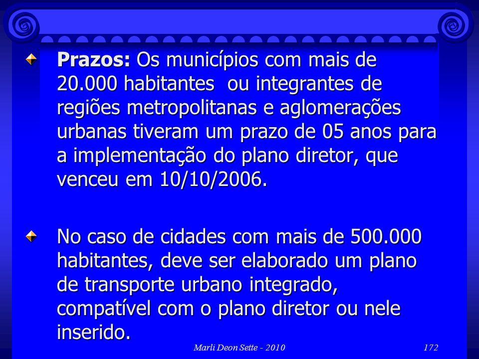 Marli Deon Sette - 2010172 Prazos: Os municípios com mais de 20.000 habitantes ou integrantes de regiões metropolitanas e aglomerações urbanas tiveram