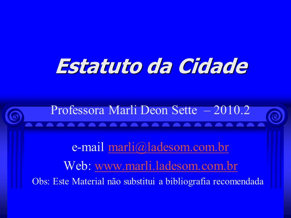 Marli Deon Sette - 201073 Os instrumentos adotados pelo texto constitucional têm por característica obrigar o proprietário a um comportamento positivo de promover uma destinação concreta para a sua propriedade.