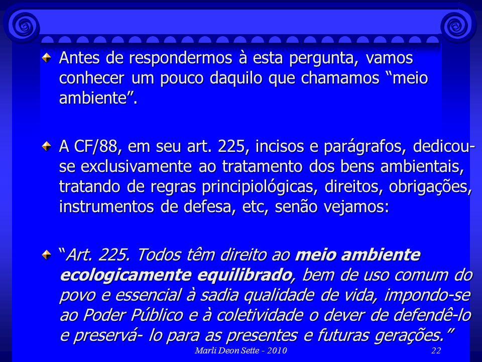 Marli Deon Sette - 201022 Antes de respondermos à esta pergunta, vamos conhecer um pouco daquilo que chamamos meio ambiente. A CF/88, em seu art. 225,