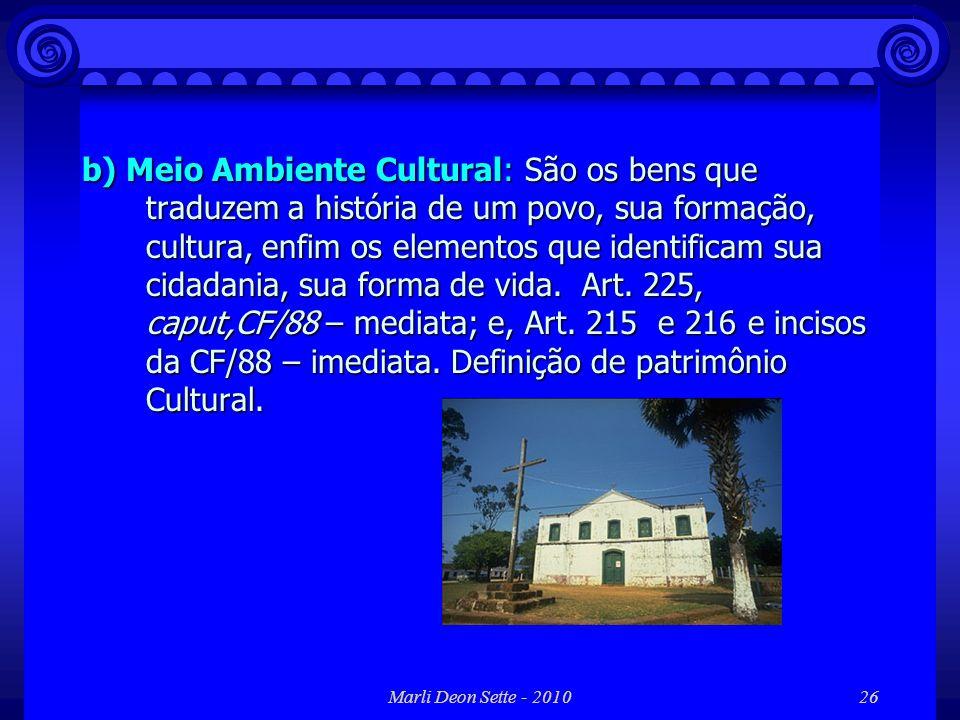Marli Deon Sette - 201026 b) Meio Ambiente Cultural: São os bens que traduzem a história de um povo, sua formação, cultura, enfim os elementos que ide