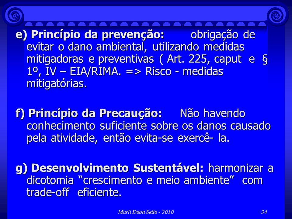 Marli Deon Sette - 201034 e) Princípio da prevenção: obrigação de evitar o dano ambiental, utilizando medidas mitigadoras e preventivas ( Art. 225, ca