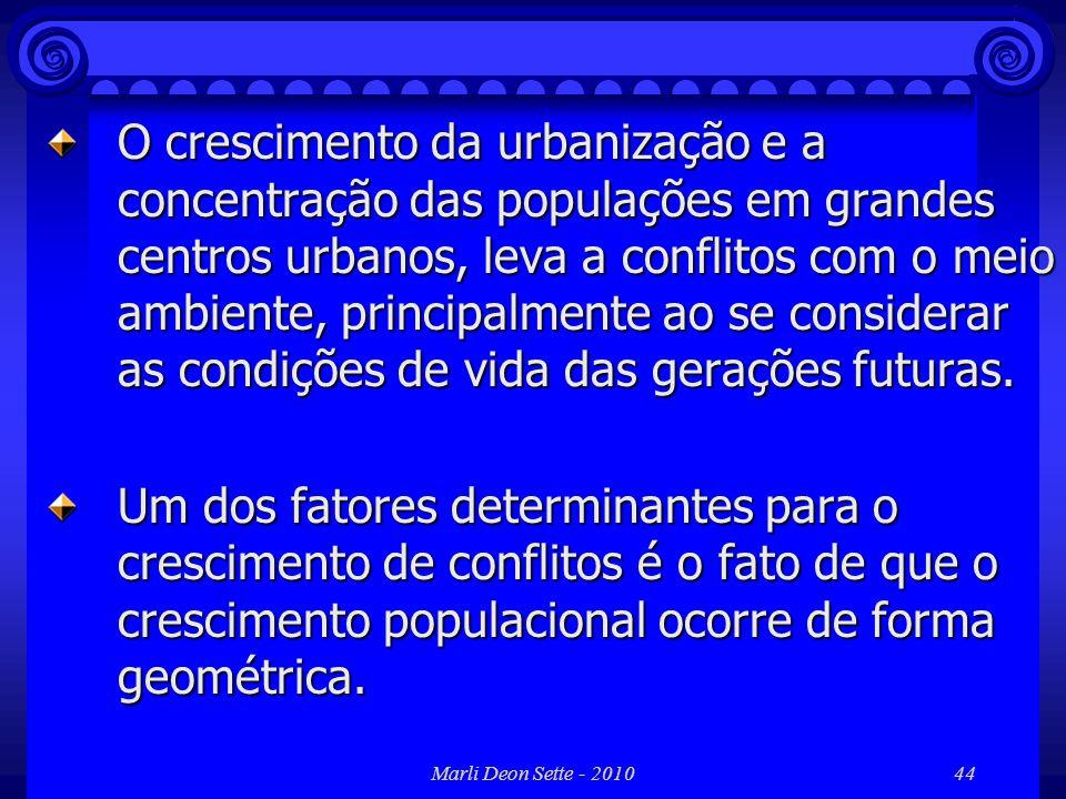 Marli Deon Sette - 201044 O crescimento da urbanização e a concentração das populações em grandes centros urbanos, leva a conflitos com o meio ambient