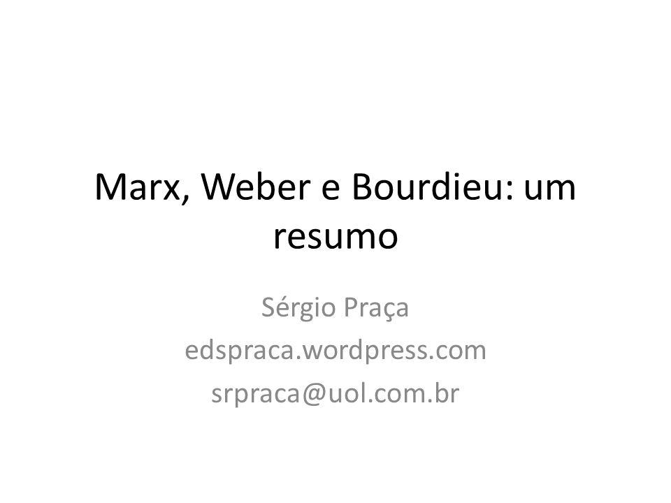 Marx, Weber e Bourdieu: um resumo Sérgio Praça edspraca.wordpress.com srpraca@uol.com.br
