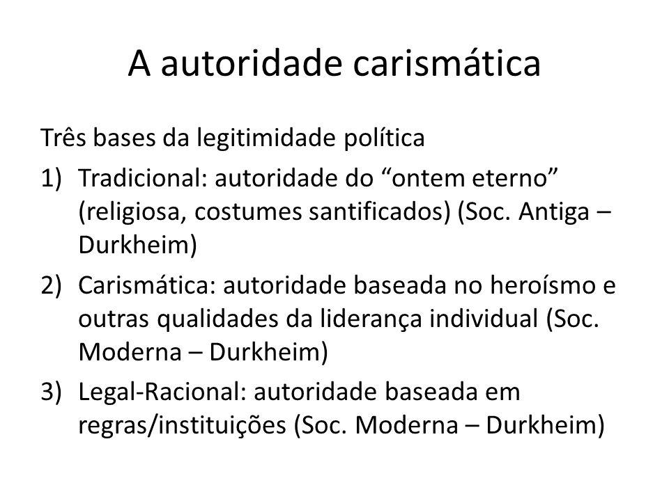 A autoridade carismática Três bases da legitimidade política 1)Tradicional: autoridade do ontem eterno (religiosa, costumes santificados) (Soc. Antiga