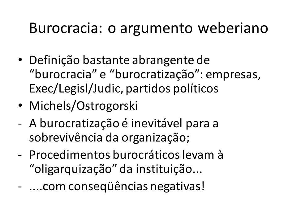 Burocracia: o argumento weberiano Definição bastante abrangente de burocracia e burocratização: empresas, Exec/Legisl/Judic, partidos políticos Michel