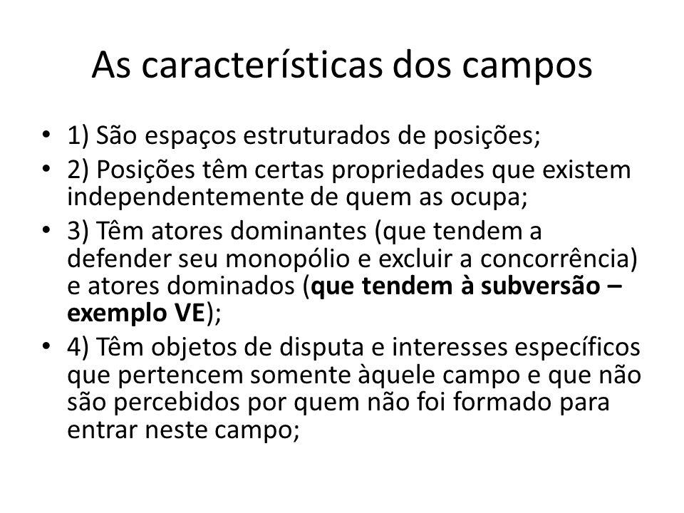 As características dos campos 1) São espaços estruturados de posições; 2) Posições têm certas propriedades que existem independentemente de quem as oc