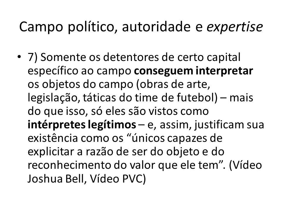 Campo político, autoridade e expertise 7) Somente os detentores de certo capital específico ao campo conseguem interpretar os objetos do campo (obras