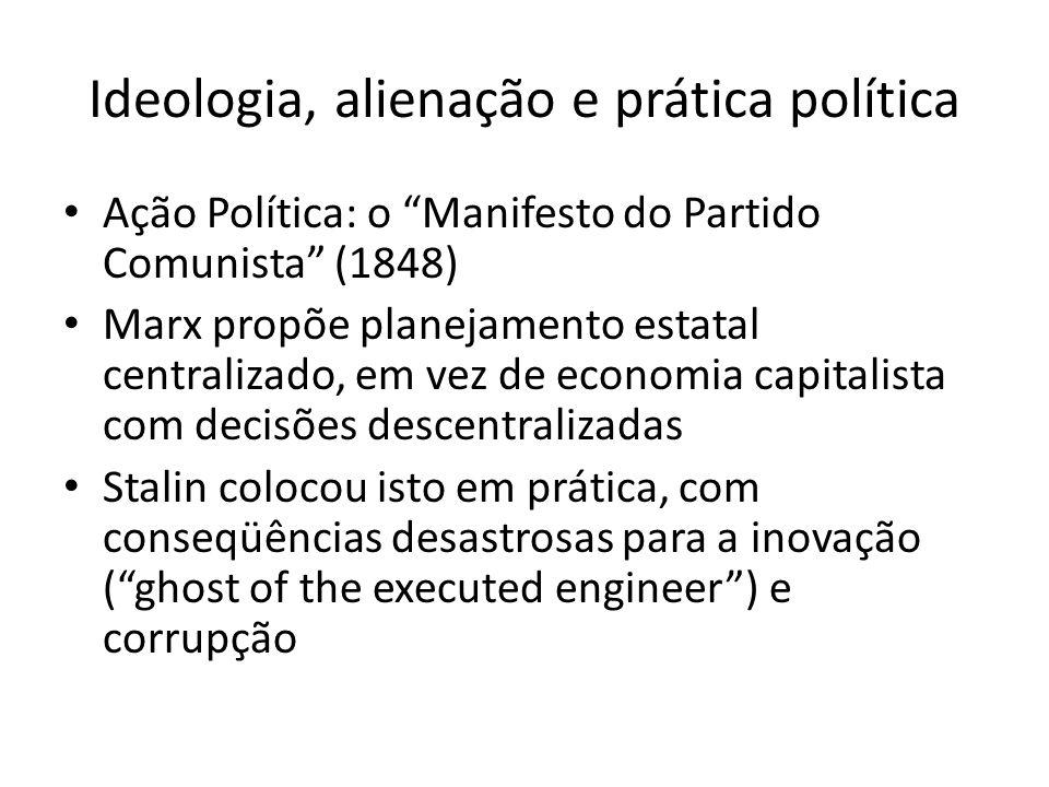 Ideologia, alienação e prática política Ação Política: o Manifesto do Partido Comunista (1848) Marx propõe planejamento estatal centralizado, em vez d