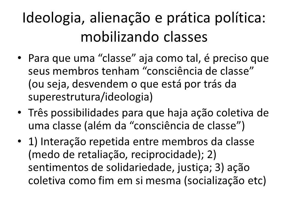 Ideologia, alienação e prática política: mobilizando classes Para que uma classe aja como tal, é preciso que seus membros tenham consciência de classe