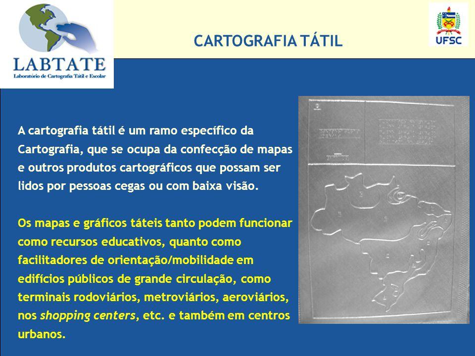 A cartografia tátil é um ramo específico da Cartografia, que se ocupa da confecção de mapas e outros produtos cartográficos que possam ser lidos por p