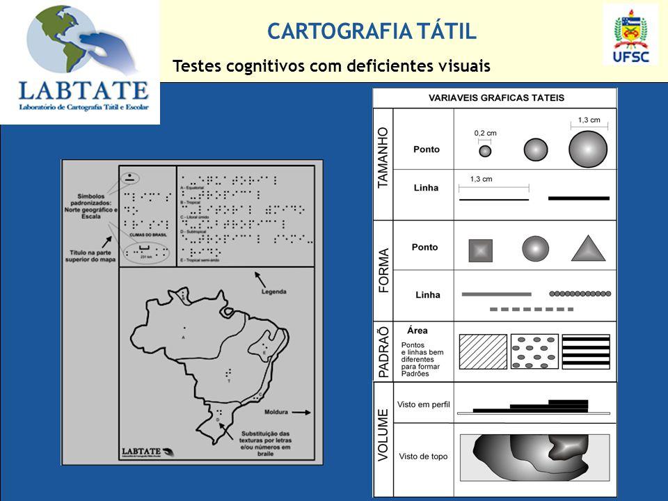 Testes cognitivos com deficientes visuais CARTOGRAFIA TÁTIL