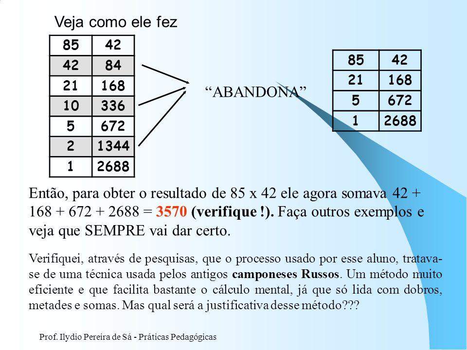 Prof. Ilydio Pereira de Sá - Práticas Pedagógicas Veja como ele fez 8542 84 21168 10336 5672 21344 12688 ABANDONA 8542 21168 5672 12688 Então, para ob