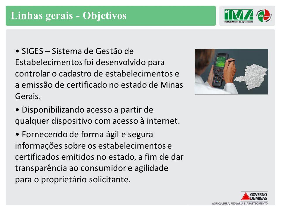 Linhas gerais - Objetivos SIGES – Sistema de Gestão de Estabelecimentos foi desenvolvido para controlar o cadastro de estabelecimentos e a emissão de