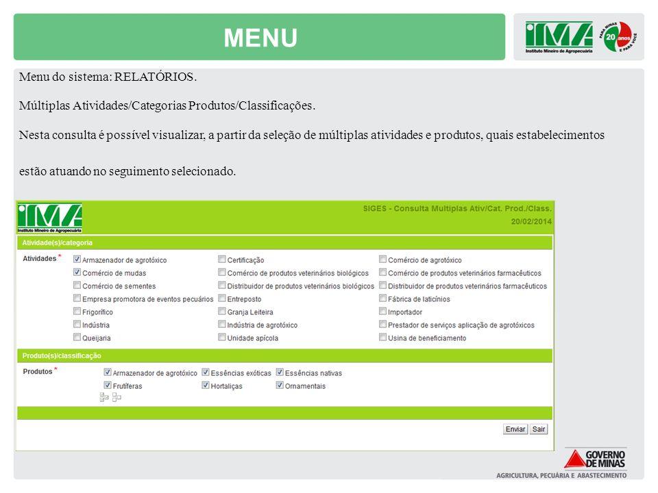 MENU Menu do sistema: RELATÓRIOS. Múltiplas Atividades/Categorias Produtos/Classificações. Nesta consulta é possível visualizar, a partir da seleção d