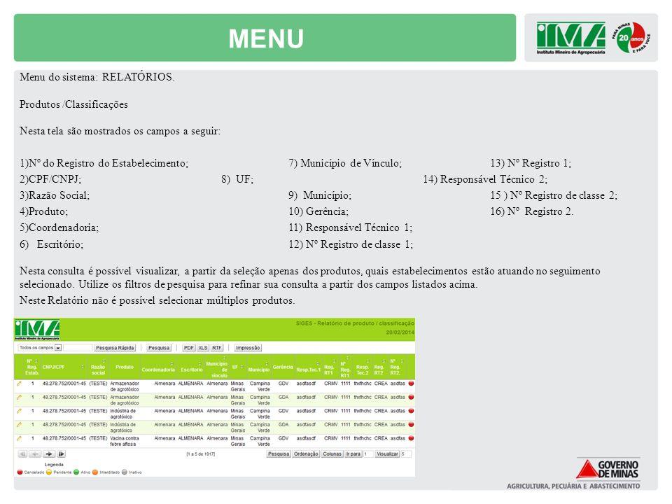 MENU Menu do sistema: RELATÓRIOS. Produtos /Classificações Nesta tela são mostrados os campos a seguir: 1)Nº do Registro do Estabelecimento;7) Municíp