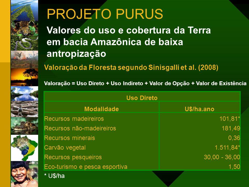 Uso Indireto ModalidadeU$/ha.ano Ciclo hidrológico38,87 Seqüestro de carbono91,9 Polinizadores30%* Valor de Opção ModalidadeU$/ha.ano Bioprospecção30,00 * 30% do total da valoração Valor de Existência ModalidadeU$/ha.ano Biodiversidade25,30 Existência11,10 Valores do uso e cobertura da Terra em bacia Amazônica de baixa antropização