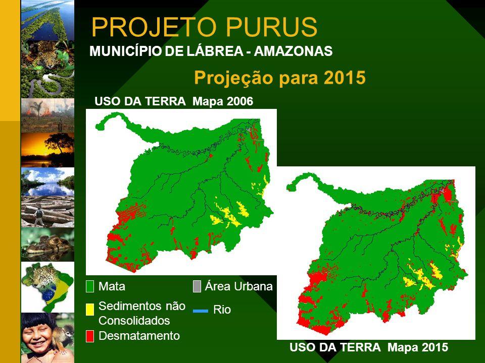 PROJETO PURUS MUNICÍPIO DE LÁBREA - AMAZONAS Mata Sedimentos não Consolidados Desmatamento Área Urbana USO DA TERRA Mapa 2006 Rio USO DA TERRA Mapa 20