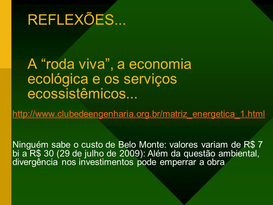 REFLEXÕES... A roda viva, a economia ecológica e os serviços ecossistêmicos... http://www.clubedeengenharia.org.br/matriz_energetica_1.html Ninguém sa