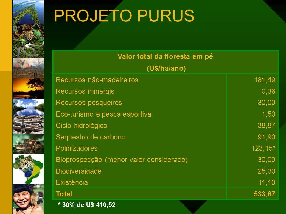 Valor total da floresta em pé (U$/ha/ano) Recursos não-madeireiros181,49 Recursos minerais0,36 Recursos pesqueiros30,00 Eco-turismo e pesca esportiva1
