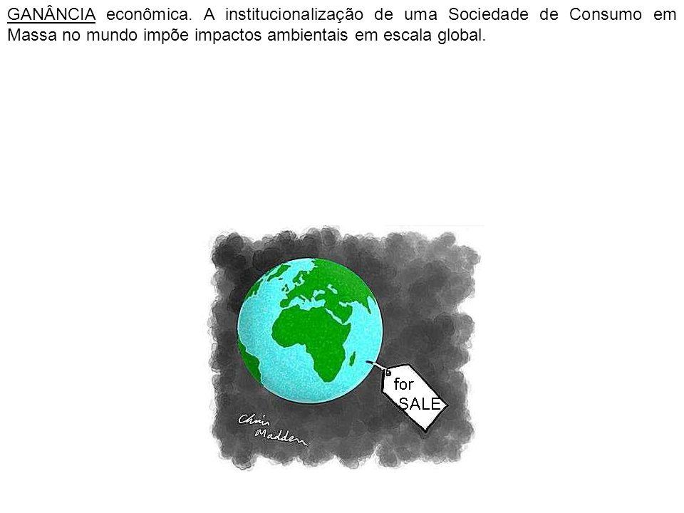 GANÂNCIA econômica. A institucionalização de uma Sociedade de Consumo em Massa no mundo impõe impactos ambientais em escala global.